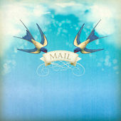 Swallows mail vintage postcard. Free flying birds (swallows) with decorative banner, text Mail on a blue sky nature background with white clouds, subtle grunge texture, blurs — Stock Vector