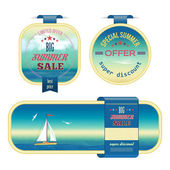 Set of summer sale labels, tags, stickers, banners — Stock Vector