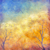 Digital oil painting autumn trees, flying birds — Stock Photo