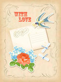 Vintage scrapbook element retro card love design — Vector de stock