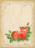 Vintage retro flowers roses postcard border frame — Stock Vector