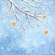 Winter background with snow-covered frozen tree brunches, last autumn leaves, snowfall on a blue bokeh backdrop. Snowy weather vector design. Christmas winter landscape greeting card — Stock Vector