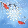 Christmas vector background with red birds (cedar waxwings), white snowflake cut from paper, snow-covered frozen tree brunches, snowfall, text 'Merry Christmas' on a blue backdrop — Stok Vektör