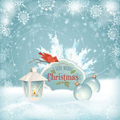Xmas Bird Lantern Christmas Balls Background — Cтоковый вектор