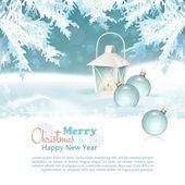 Merry Christmas & New Year Celebration Background with lantern, christmas baubles, xmas decorations, fir tree branches, snowdrifts, snowflakes, text in winter holidays landscape. Vector illustration — Stock Vector