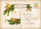 Merry Christmas and Happy New Year celebration vintage postcard with baubles, birds, Xmas decorations, fir tree branches, post stamp, snowflakes, text. Retro winter season holiday vector background — Cтоковый вектор