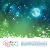 Christmas abstract vector background with moon, stars, night time sky, snowflakes, lights, text, bokeh effects, grunge elements on dark blue green background — Cтоковый вектор