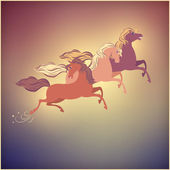 Vintage Galloping Horse Vector Christmas 2014 Card — Stockvector