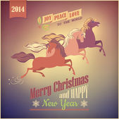 Vintage Galloping Horse Vector Christmas 2014 Card — Vettoriale Stock