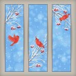 Vertical Christmas banners with birds, Rowan tree branches and berries in frost, snowflakes, bokeh elements on blue abstract background — Vettoriali Stock