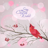 Christmas Vector Snowy Rowan Berries Bird Card — Stock Vector