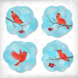 Winter Christmas Sticker Birds Rowan Tree Branches — Stok Vektör