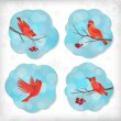 Winter Christmas Sticker Birds Rowan Tree Branches — Stockvector