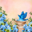 Stock Photo: Romantic pastel watercolor and drawing garden scene. Bluebird splashing in bird bath among beautiful pansy flowers. Concept design with symbol of happiness, love and joy. Artistic floral painting