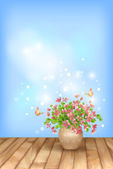 Spring pink flowers butterfly on sky background — Stock Vector