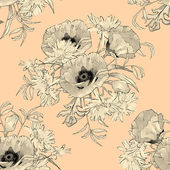 Hand Drawn Flowers Seamless Pattern — Stock Vector