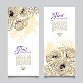 Vector Vintage Floral Banner — Stock Vector