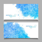 Abstract Vector Watercolor Blue Banners — Stock Vector