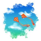Sky Kite Watercolor Vector — Stock Vector