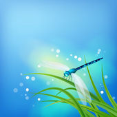 Dragonfly on Grass Blade — Stock Vector