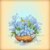 Vector Wicker Basket with Flowers — ストックベクタ