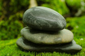 Stacked stone on algae — Stock Photo