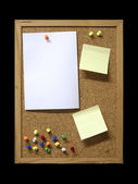 Note Papers and Pins on Cork Board — Stock Photo