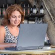 Beautiful businesswoman working with laptop in cafe — Stock Photo #37124309