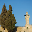 The minaret of mosque of Al Aqsa and wall — Stock Photo #37267705