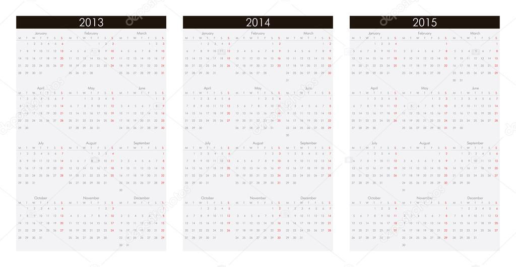 Calendar for the year 2013, 2014, 2015 USA version.