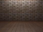 Ladrillo & interior de madera — Foto de Stock