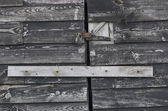 Padlock on old wooden door — Stock Photo