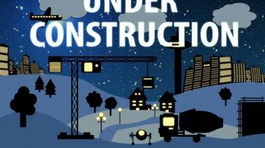 Construction Site Cartoon Night — Stock Video