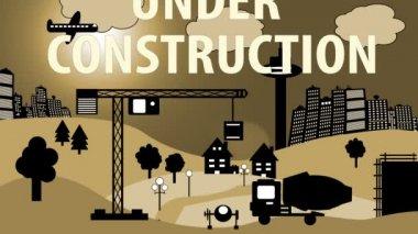 Bouw website cartoon — Stockvideo