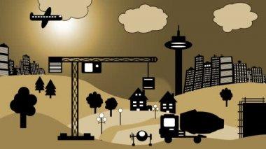 Konstruktion webbplats cartoon — Stockvideo