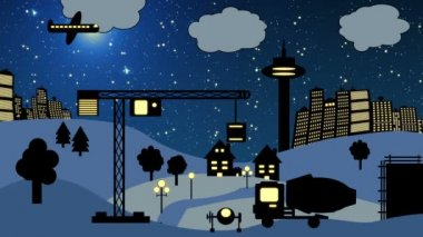 Construction Site at Night (Cartoon) — Stockvideo