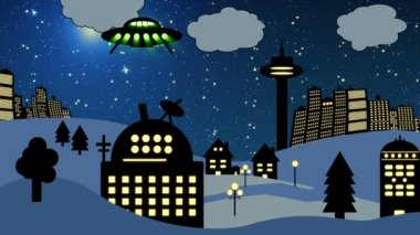 Ufo flying over observatory (Cartoon) — Stock Video