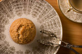 Vegan Muffin on antique Plate — Stock Photo