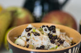 Vegetarian Rice with Pears Vitamin Breakfast — Stock Photo