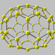 Fullerene molecule illustration isolated on gray — Stock Photo