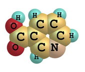 Niacin (B3) molecular structure on white background — Stock Photo