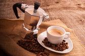 Cup of coffee with italian moka — Stock Photo