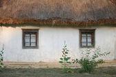 Casa blanca ucraniano con dos ventanas en el pueblo — Foto de Stock