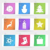Cartes de Noël couleur agrafé — Vecteur