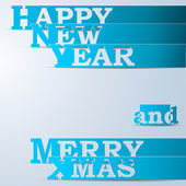 Blue Happy New Year & Merry Xmas paper strips — Stock Vector