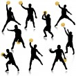 Stock Vector: Basketball min action silhouette set