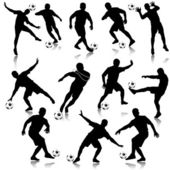 Soccer man silhouette set eps10 vector illustration — Stock Vector