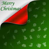 Merry Christmas green background with curled red corner — Stock Vector
