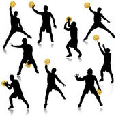 Basketball man in action silhouette set — Stock Vector