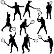 Royalty-Free Stock Vector Image: Tennis silhouette set eps10 vector illustration